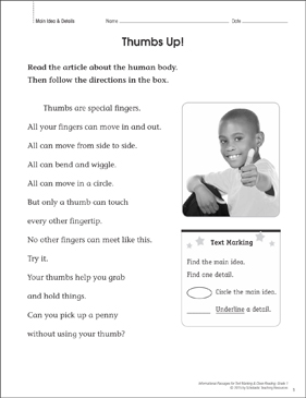 Thumbs Up! (Main Idea & Details): Close Reading - Printable Worksheet