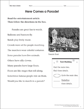 Here Comes a Parade! (Main Idea & Details): Close Reading - Printable Worksheet