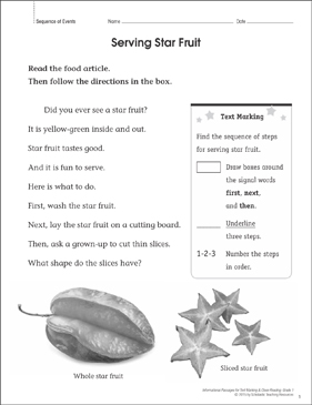 Serving Star Fruit (Sequence of Events): Close Reading - Printable Worksheet