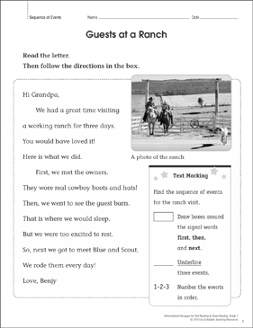Guests at a Ranch (Sequence of Events): Close Reading - Printable Worksheet