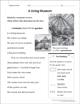 A Living Museum (Sequence of Events): Close Reading - Printable Worksheet