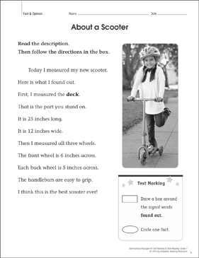 About a Scooter (Fact & Opinion): Close Reading - Printable Worksheet