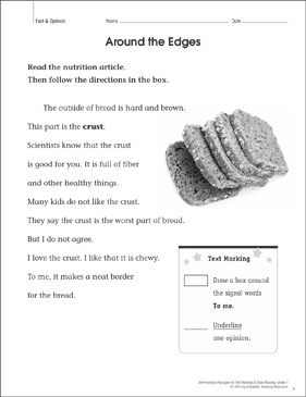 Around the Edges (Fact & Opinion): Close Reading - Printable Worksheet