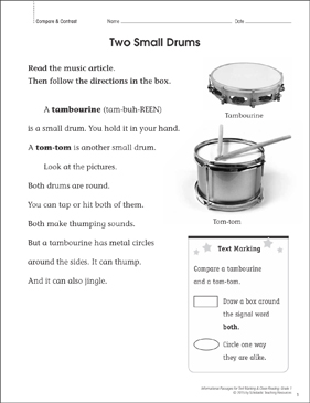 Two Small Drums (Compare & Contrast): Close Reading - Printable Worksheet