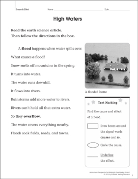 High Waters (Cause & Effect): Close Reading - Printable Worksheet