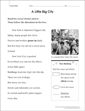 A Little Big City (Cause & Effect): Close Reading - Printable Worksheet