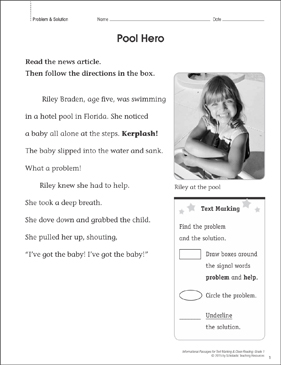 Pool Hero (Problem & Solution): Close Reading - Printable Worksheet