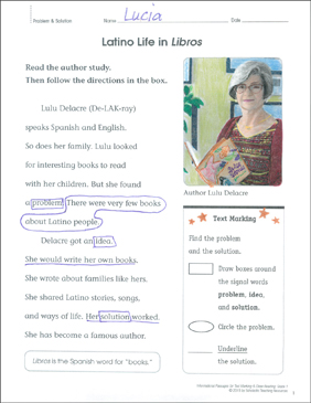 Latino Life in Libros (Problem & Solution): Close Reading - Printable Worksheet