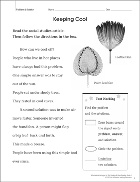 Keeping Cool (Problem & Solution): Close Reading - Printable Worksheet