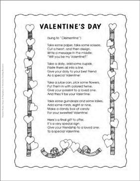 A Valentine's Day Song - Printable Worksheet