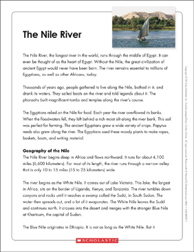 The Nile River: Text & Organizer - Printable Worksheet