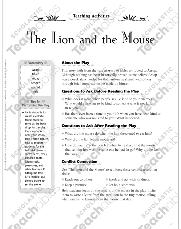 image regarding The Lion and the Mouse Story Printable named The Lion and the Mouse: A Conflict Alternative Folktale Enjoy