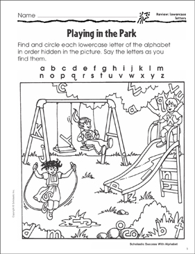 playing in the park review lowercase letters printable skills sheets. Black Bedroom Furniture Sets. Home Design Ideas