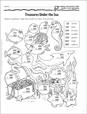 photograph relating to Under the Sea Printable named Treasures Below the Sea (Include/Subtract 3-Digits) Printable