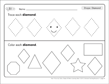 photograph about Diamond Printable named Browse Compose Condition Mats: Diamond Printable Abilities Sheets