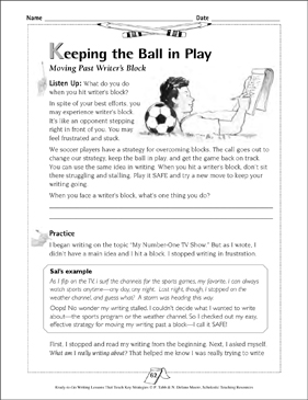 Keeping the Ball in Play: Moving Past Writer's Block - Printable Worksheet