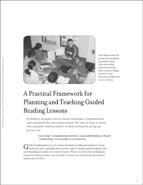 Planning and Teaching Guided Reading Lessons - Printable Worksheet
