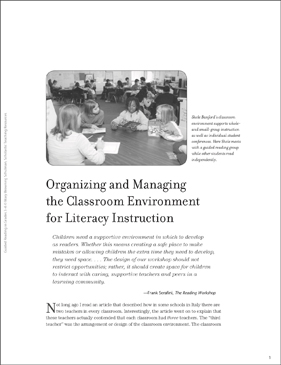 Organizing and Managing the Classroom for Literacy - Printable Worksheet