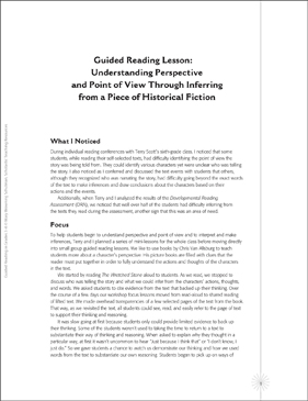 Model Guided Reading Lesson: Historical Fiction - Printable Worksheet