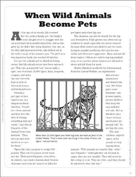 When Wild Animals Become Pets: Text Passage - Printable Worksheet
