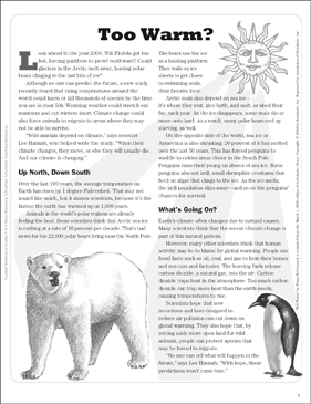 Too Warm? Text Passage - Printable Worksheet