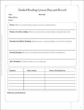 Guided Reading Lesson Plan and Record - Printable Worksheet