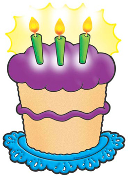 Birthday Cake With Purple Frosting - Image Clip Art