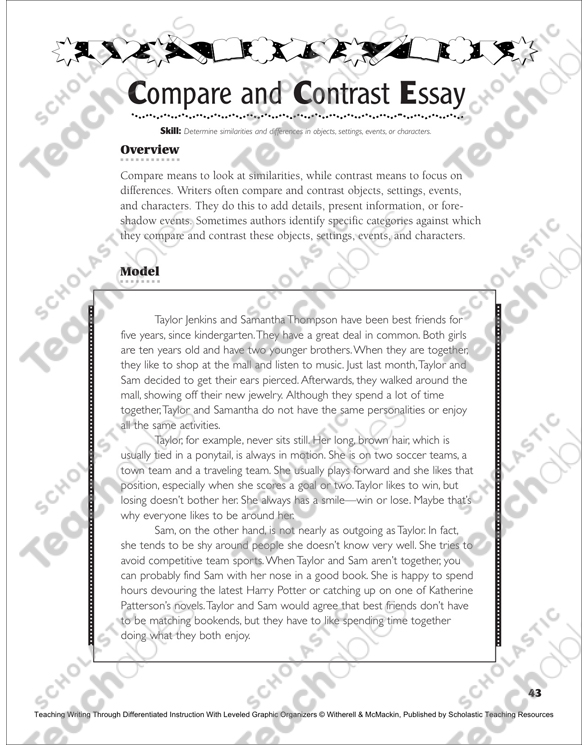 Sample Thesis Essay Compare And Contrast Essay Page  Of  See Inside Image Universal Health Care Essay also English Essay Topics For Students Compare And Contrast Essay  Printable Lesson Plans Ideas And  Examples Of Thesis Statements For English Essays