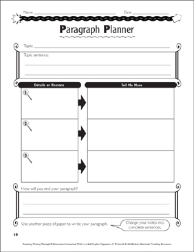 Writing Paragraphs: Leveled Graphic Organizers - Printable Worksheet