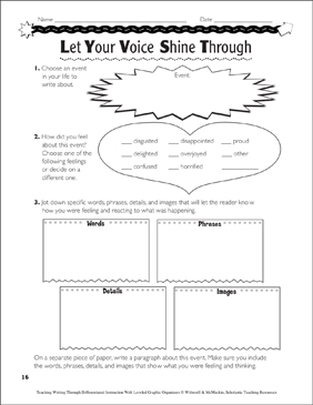 Finding a Voice: Leveled Graphic Organizers - Printable Worksheet