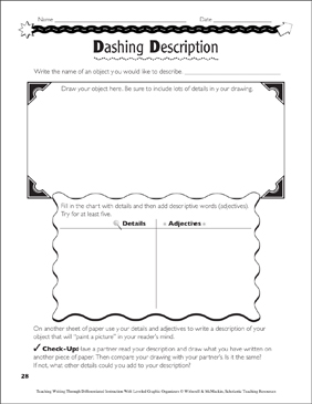 Description (Nonfiction Writing): Leveled Graphic Organizers - Printable Worksheet