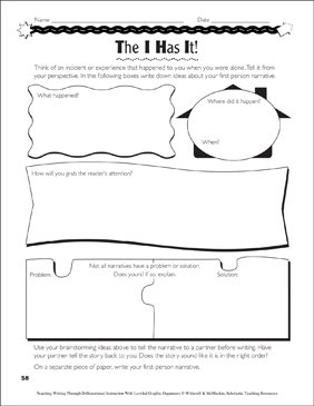 Point of View (Narrative Writing): Leveled Graphic Organizers - Printable Worksheet