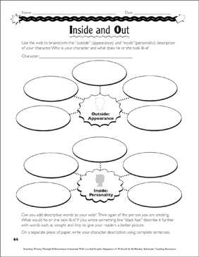 Character Development (Narrative Writing): Leveled Graphic Organizers - Printable Worksheet