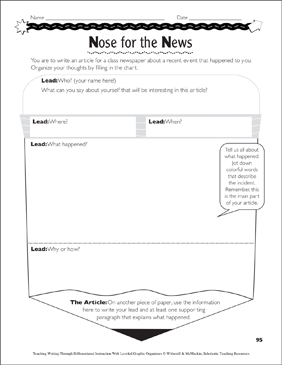 Newspaper Article: Leveled Graphic Organizers - Printable Worksheet