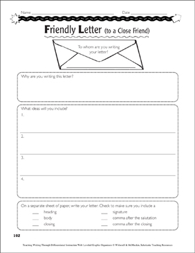 Friendly and Business Letters: Graphic Organizers - Printable Worksheet