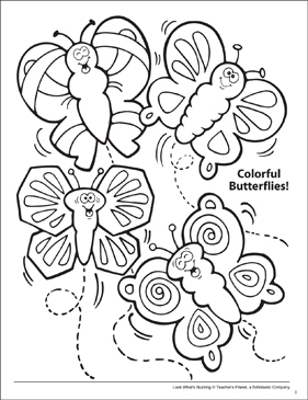 Look What's Buzzing Coloring Page: Colorful Butterflies! - Printable Worksheet