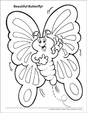 Look What's Buzzing Coloring Page: Beautiful Butterfly! - Printable Worksheet
