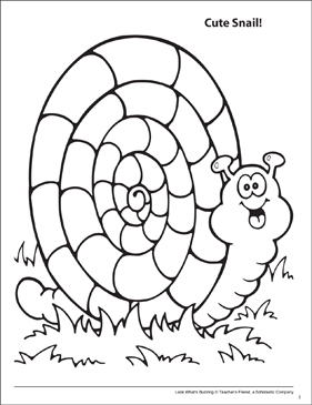 Look What's Buzzing Coloring Page: Cute Snail! - Printable Worksheet