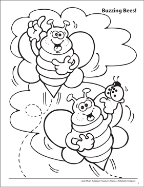 Look What's Buzzing Coloring Page: Buzzing Bees! - Printable Worksheet