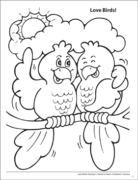 Look What's Buzzing Coloring Page: Love Birds! - Printable Worksheet