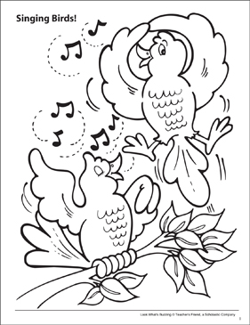Look What's Buzzing Coloring Page: Singing Birds! - Printable Worksheet