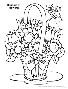 Look What's Buzzing Coloring Page: Bouquet of Flowers! - Printable Worksheet