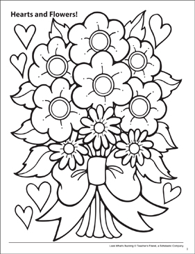 Look What's Buzzing Coloring Page: Hearts and Flowers! - Printable Worksheet