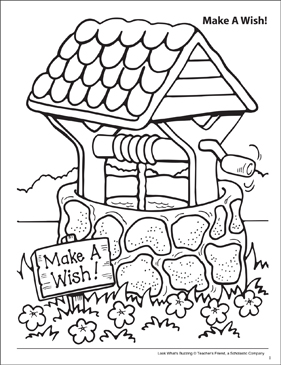 Look What's Buzzing Coloring Page: Make a Wish! - Printable Worksheet