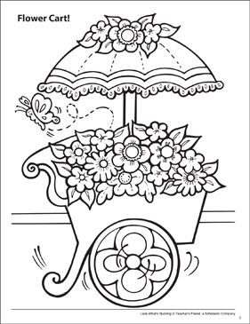 Look What's Buzzing Coloring Page: Flower Cart! - Printable Worksheet