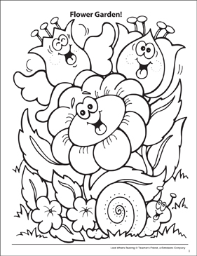 Look What's Buzzing Coloring Page: Flower Garden! - Printable Worksheet