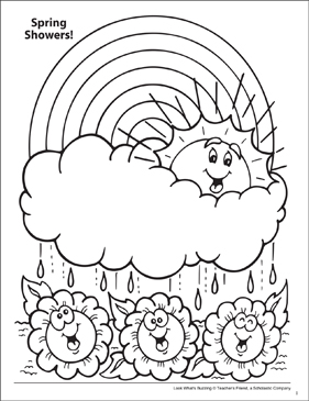 Look What's Buzzing Coloring Page: Spring Flowers - Printable Worksheet