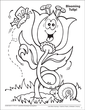 Look What's Buzzing Coloring Page: Blooming Tulip! - Printable Worksheet