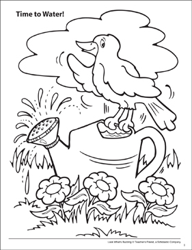 Look What's Buzzing Coloring Page: Time to Water! - Printable Worksheet