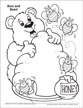 Look What's Buzzing Coloring Page: Bear and Bees! - Printable Worksheet